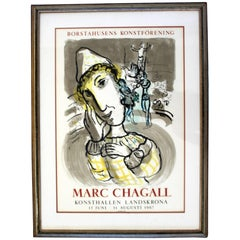 Mid-Century Modern Vintage Framed Marc Chagall Poster Lithograph, 1967