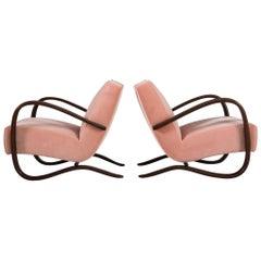Jindrich Halabala Pair of Pink Reupholstered Armchairs