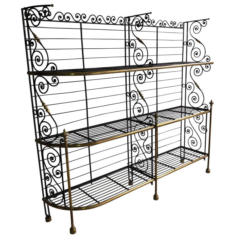 Large French 19th Century Bakers Rack Wrought Iron and Brass