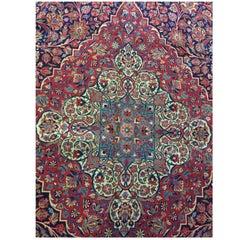 Late 19th Century, Fine Kurk Wool Carpet Made in Kashan, Iran
