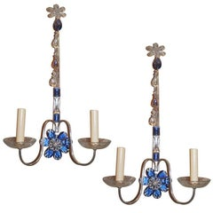 Set of Four Silver Plated Sconces with Blue Crystals