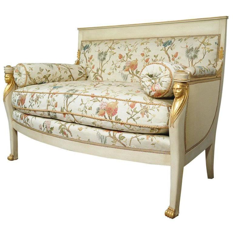 Beau French Empire Style Settee Loveseat Sofa Cream And Gold Figural Carved  Faces For Sale