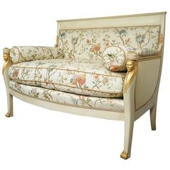 French Empire Style Settee Loveseat Sofa Cream and Gold Figural Carved Faces
