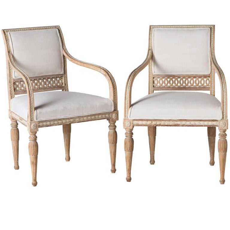 Pair of Swedish Gustavian Period Armchairs, circa 1790 1
