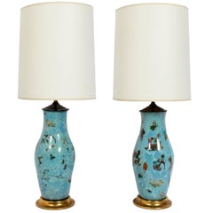 Pair of Robin's Egg Blue Asian Influenced Lamps