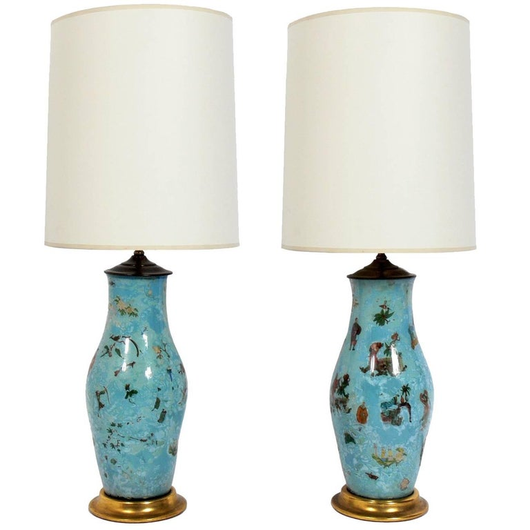 Pair of Robin's Egg Blue Asian Influenced Lamps  For Sale
