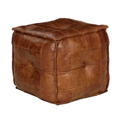 Stitched Saddle Leather Pouf Footstool Ottoman, 20th Century