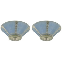 Deco Pale Blue Glass Flush Mount(one Available)