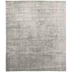 Bonn 'Belfast - Celadon' Hand-Loomed, Solid-Tonal Rug, Greenish Gray