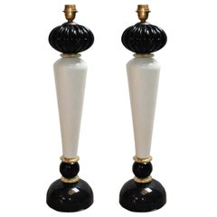Pair of Murano Black and Cream Table Lamps