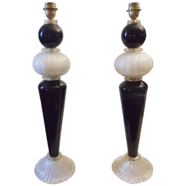 Pair of Murano Cream and Black Stem Table Lamps