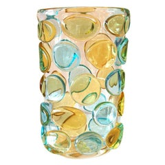 Murano Yellow and Aqua Button Vase by Camozzo