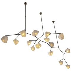 Modern Mobile Chandelier in Porcelain and Brass Handmade by Andrea Claire Studio