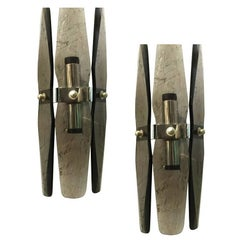 Pair of Smoky Bevelled Sconces by Veca