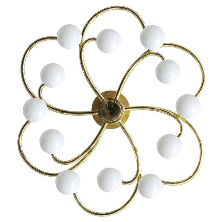 Large 12 Lights Sputnik Helix Brass Flush Light, Stilnovo Gio Ponti Era