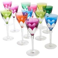 "Harlequin Set of 24 Val Saint Lambert ""Nestor"" Wine Glasses, circa 1950"
