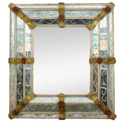 Massive 19th Venetian Glass Mirror with Overall Etched and Applied Decoration