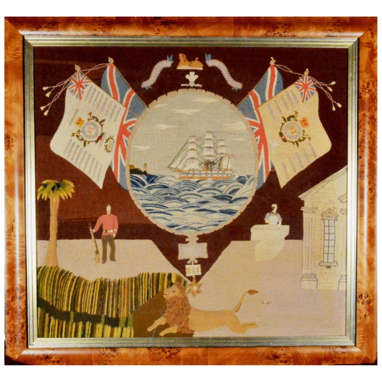 Sailor's Woolwork Depicting the Troopship HMS Jumna, 19th Century