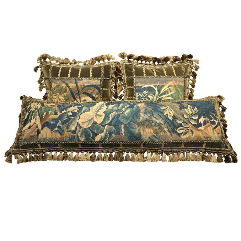 Set of Three Handmade Pillows Made with 18th Century Aubusson Tapestry Fragments