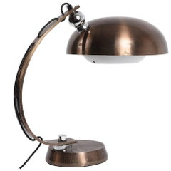 Table Lamp in Brushed and Bronzed Aluminum 1970 Italian Attributed to Arredoluce