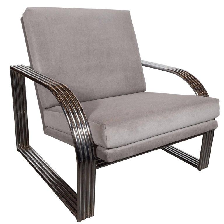 Art Deco Revival Chrome and Platinum Velvet Club Chair in Jay Spectre Manner