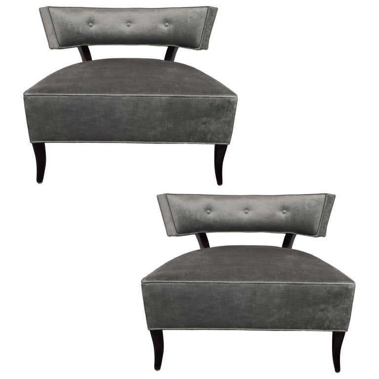 Pair of Mid-Century Modern Klismos Slipper Chairs in Sage Velvet by Billy Haines
