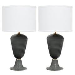 Murano Glass Gray Ridged Lamps