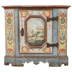 Bavarian or Hungarian Polychrome Paint Decorated Cabinet