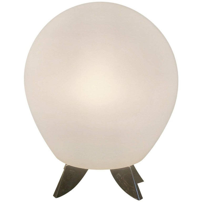Satin Glass and Chrome Modern Table Lamp
