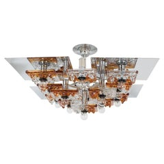 Tiered Polished Nickel Chandelier