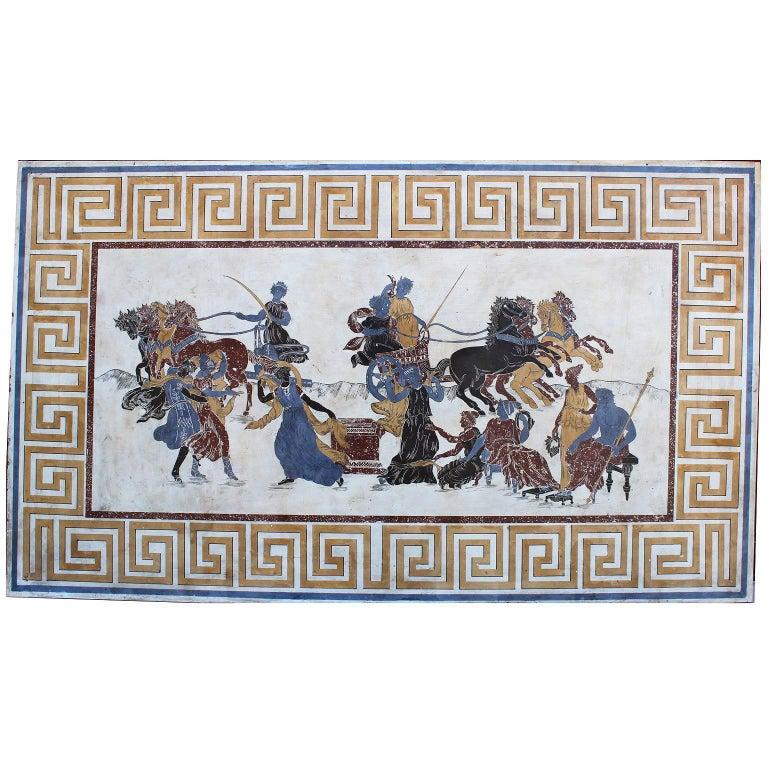 Italian 19th-20th Century Neoclassical & Greco-Roman Style Scagliola Wall Plaque For Sale