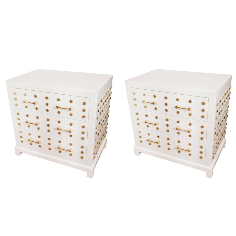 Pair of Opaline Glass Chests of Drawers For Sale