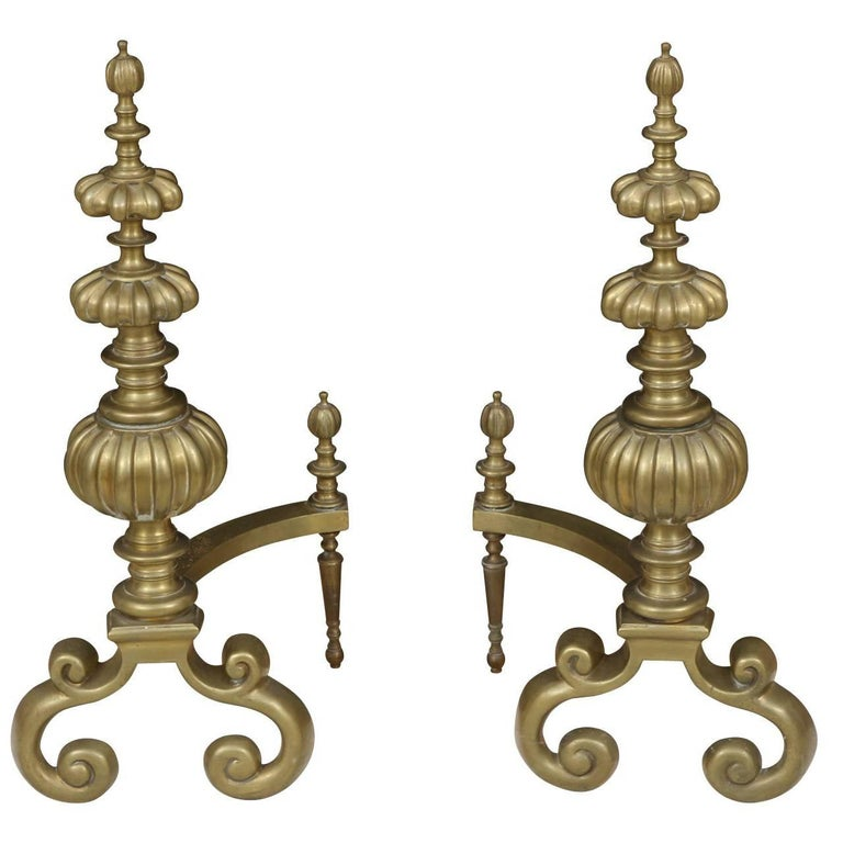 Pair of Massive Baroque Style Solid Brass Andirons