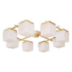 Brass Flush Mount with Glass Cube Shades
