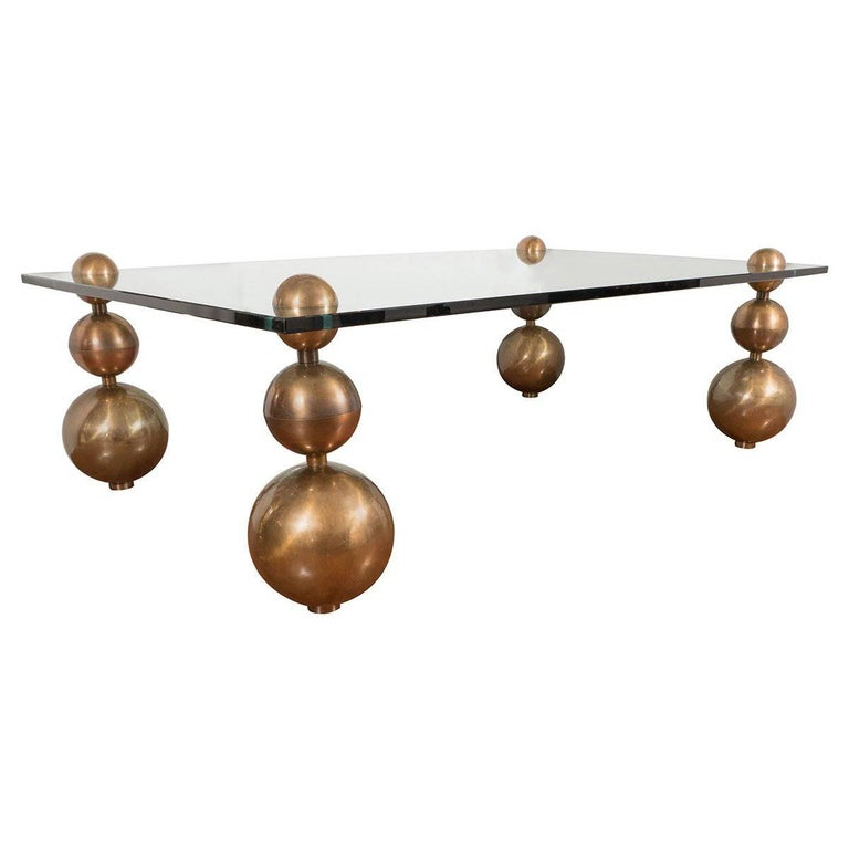 Coffee Table with Stacked Bronze Ball Legs
