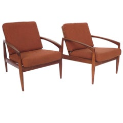 Pair of Kai Kristiansen Paper-Knife Teak Easy Chairs