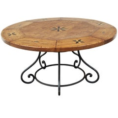 Fine Custom Continental Round Inlaid Walnut Table with 18th Century, Top