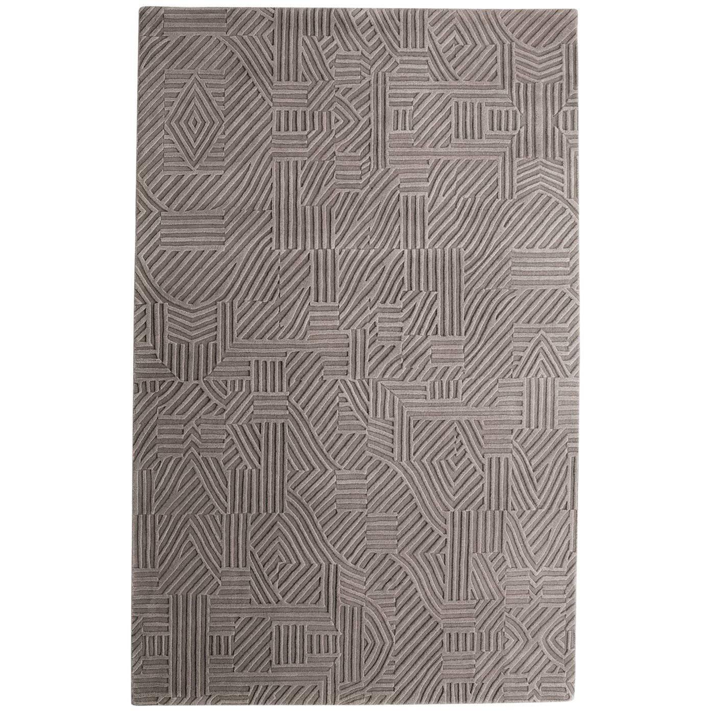 African Pattern One Area Rug in Hand-Tufted Wool by Milton Glaser Extra Large