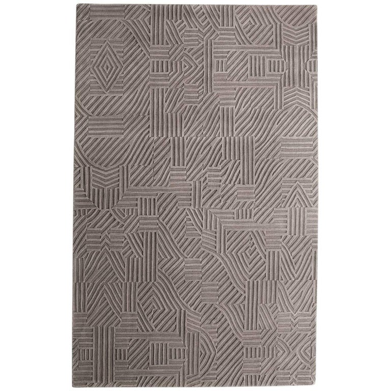 African Pattern One Area Rug in Hand-Tufted Wool by Milton Glaser Extra Large For Sale