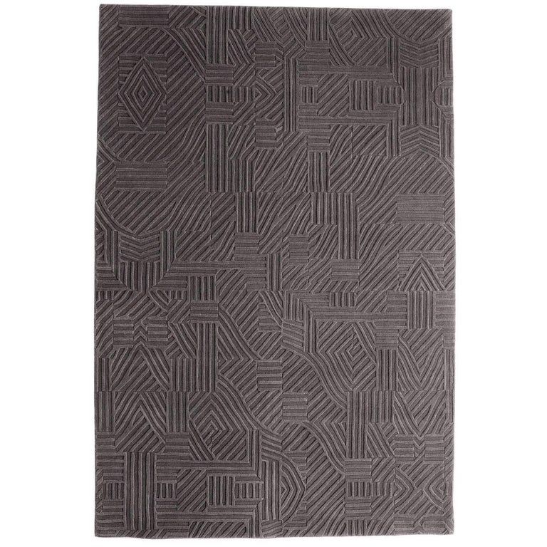 African Pattern Two Area Rug in Hand-Tufted Wool by Milton Glaser Extra Large