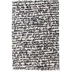 Black on White Manuscrit Hand-Tufted Wool Rug by Joaquim Ruiz Millet Medium