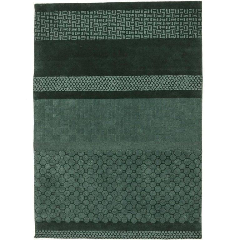 Celadon Jie Hand-Tufted Wool Area Rug by Neri & Hu Medium For Sale
