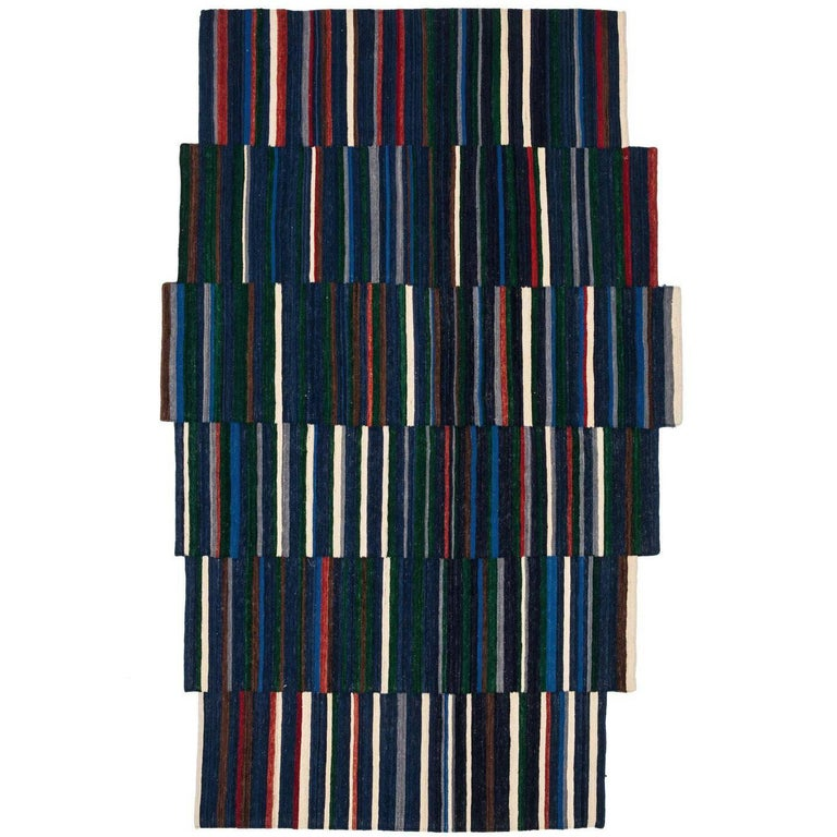 Lattice One Hand-Loomed Afghan Wool Rug by Ronan & Erwan Bouroullec Small For Sale