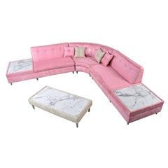 Hollywood Regency Pink Microsuede Sectional Sofa Couch & Coffee Table Set