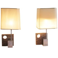 1970, Pair of French Granite Design Table Lamps
