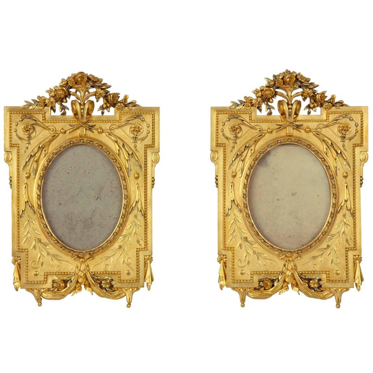 pair of french 19th century louis xvi st ormolu picture frames signed cristofle at 1stdibs. Black Bedroom Furniture Sets. Home Design Ideas