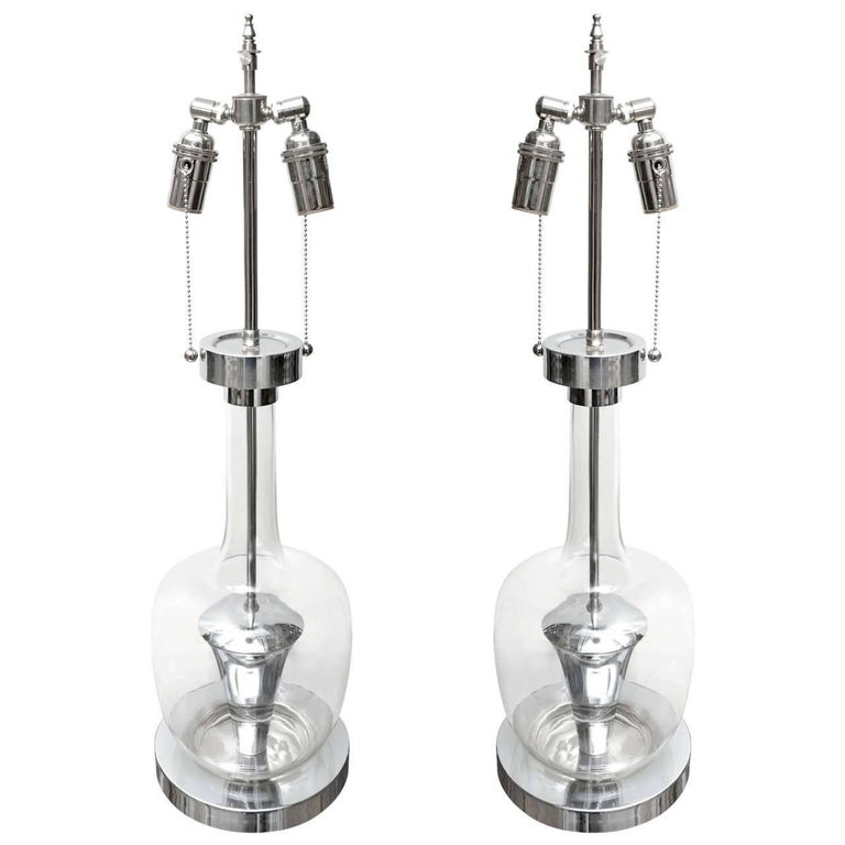 Pair of Clear Glass and Chrome Lamps