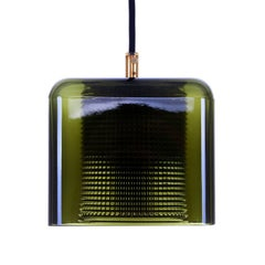 Orrefors Square Pendant by Lyfa/Orrefors, 1960s, Green and Clear Crystal Lamp