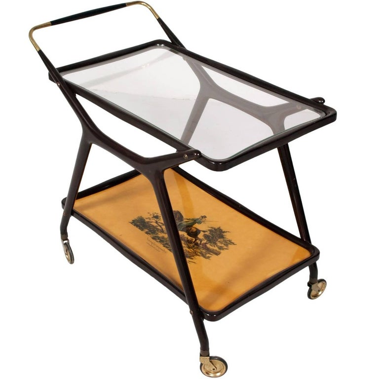 Italy Midcentury Mahogany Serving Cart by Cesare Lacca