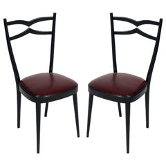 1940s Side Chairs Carlo di Carli Attributed Black Lacquered Walnut, Leatherete